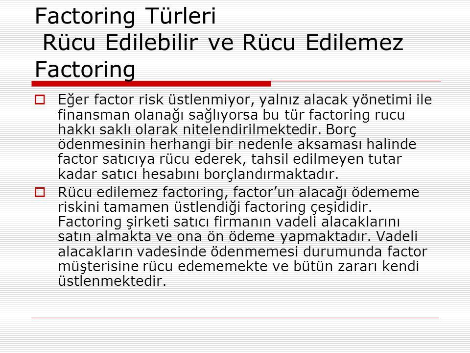 Factoring Türleri Rücu Edilebilir ve Rücu Edilemez Factoring