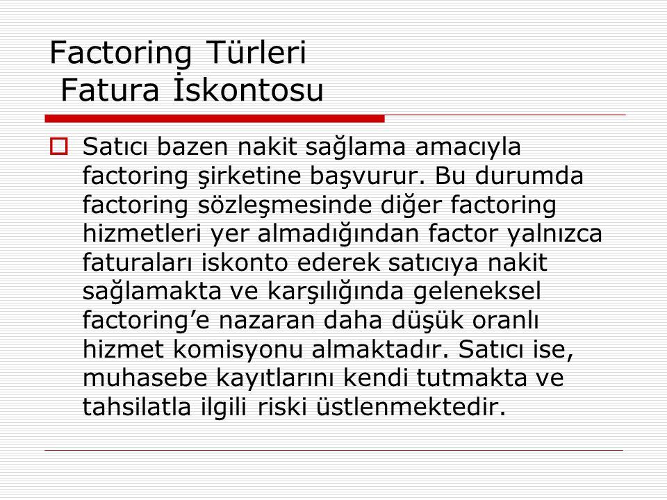 Factoring Türleri Fatura İskontosu