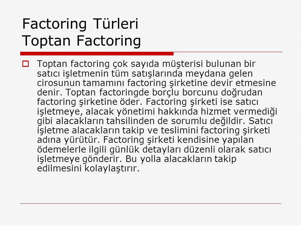 Factoring Türleri Toptan Factoring