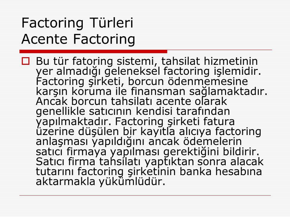Factoring Türleri Acente Factoring