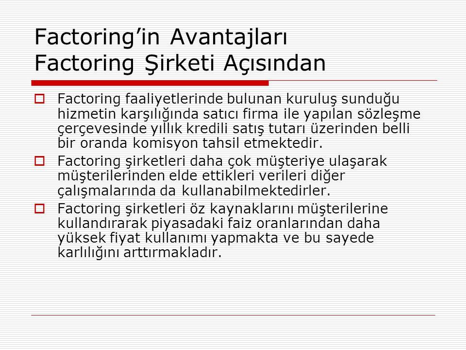 Factoring'in Avantajları Factoring Şirketi Açısından