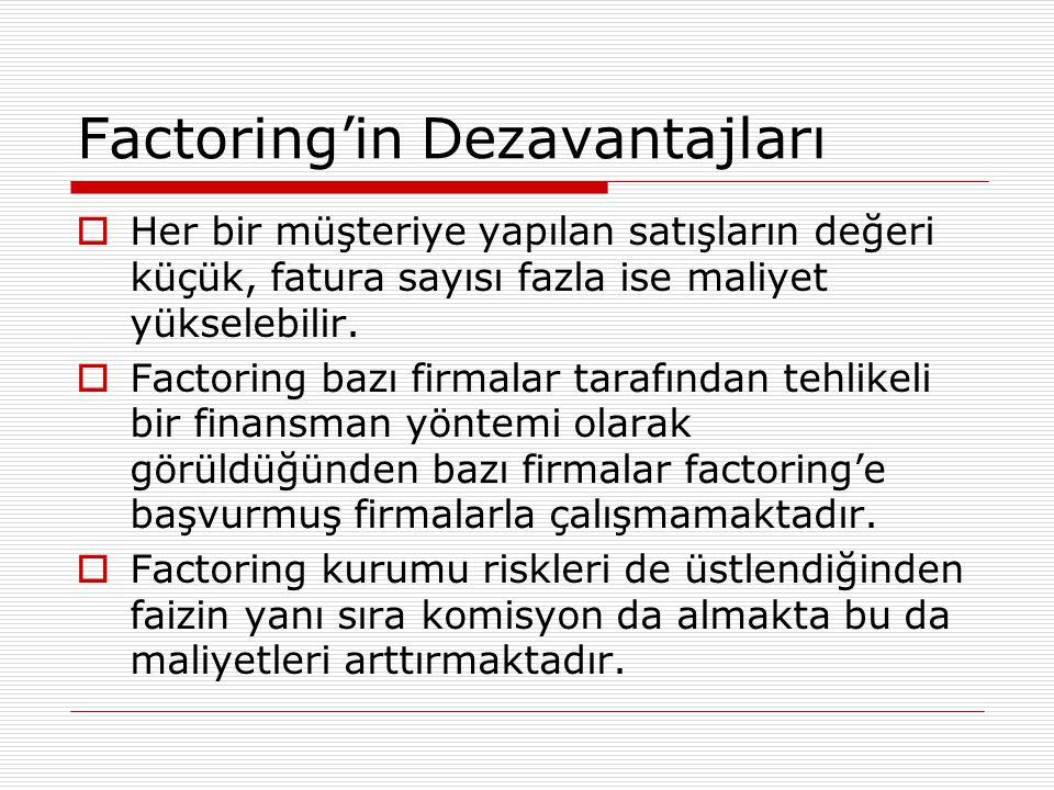 Factoring'in Dezavantajları