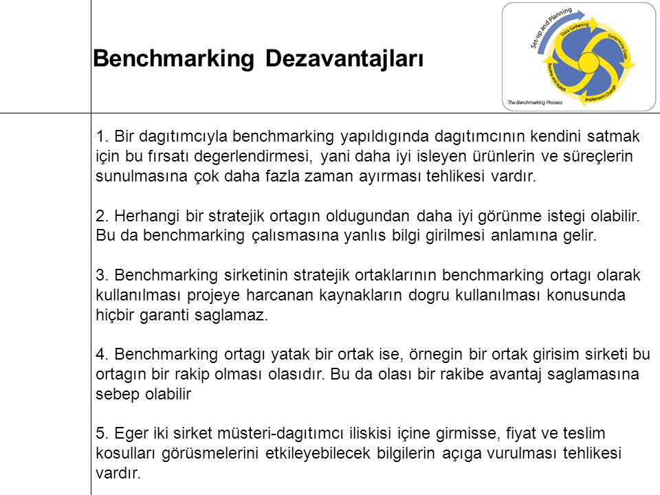 Benchmarking Dezavantajları