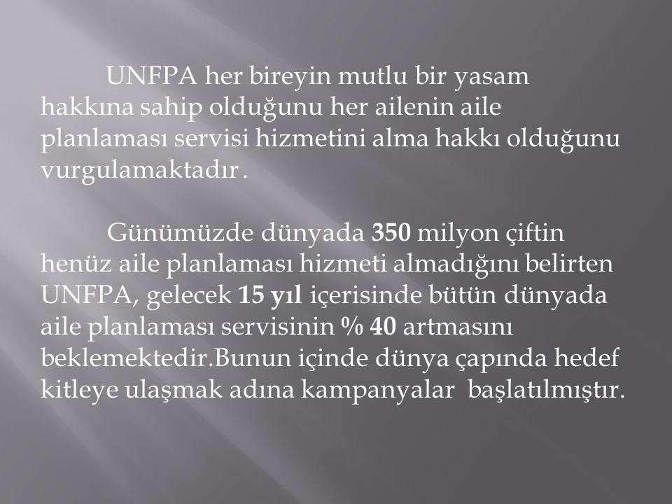 UNFPA her bireyin mutlu bir yasam hakkına sahip olduğunu her ailenin aile planlaması servisi hizmetini alma hakkı olduğunu vurgulamaktadır .