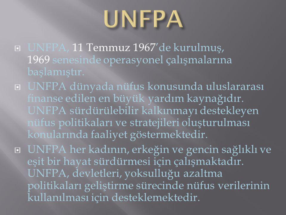 UNFPA UNFPA, 11 Temmuz 1967'de kurulmuş, 1969 senesinde operasyonel çalışmalarına başlamıştır.