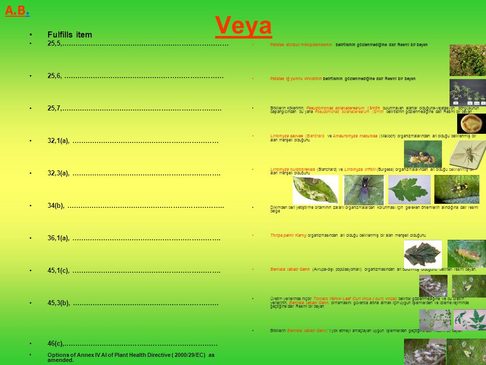 Veya A.B. Fulfills item 25,5,…………………………………………………………………