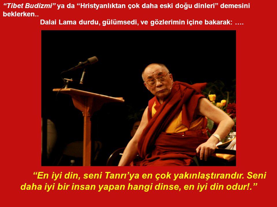 Tibet Budizmi ya da Hristyanlıktan çok daha eski doğu dinleri demesini beklerken..