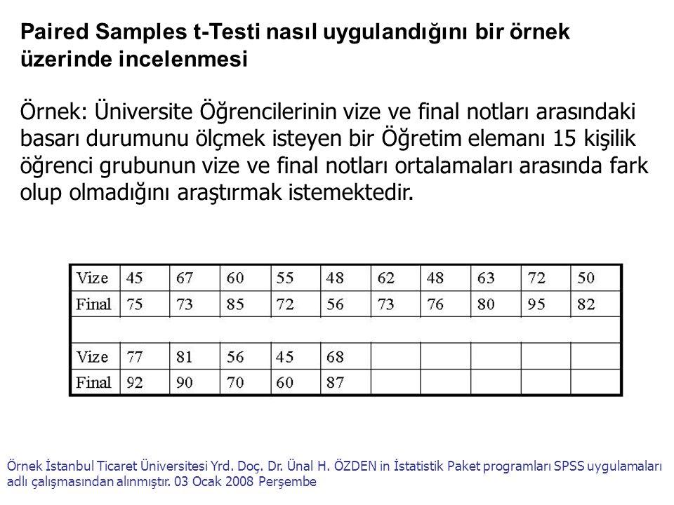 Paired Samples t-Testi nasıl uygulandığını bir örnek üzerinde incelenmesi