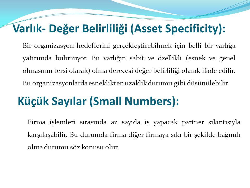 Varlık- Değer Belirliliği (Asset Specificity):