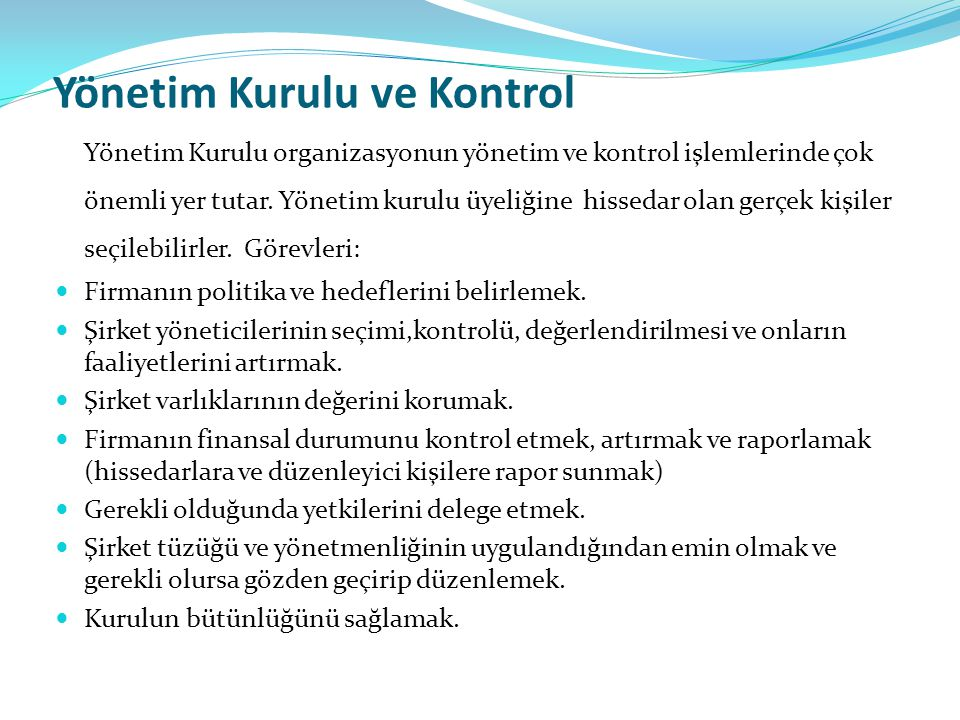 Yönetim Kurulu ve Kontrol