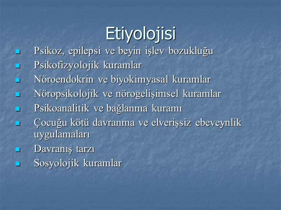 Etiyolojisi Psikoz, epilepsi ve beyin işlev bozukluğu