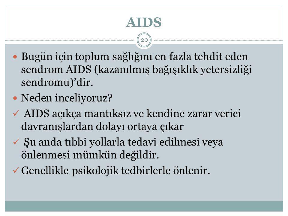 AIDS Bugün için toplum sağlığını en fazla tehdit eden sendrom AIDS (kazanılmış bağışıklık yetersizliği sendromu)'dir.