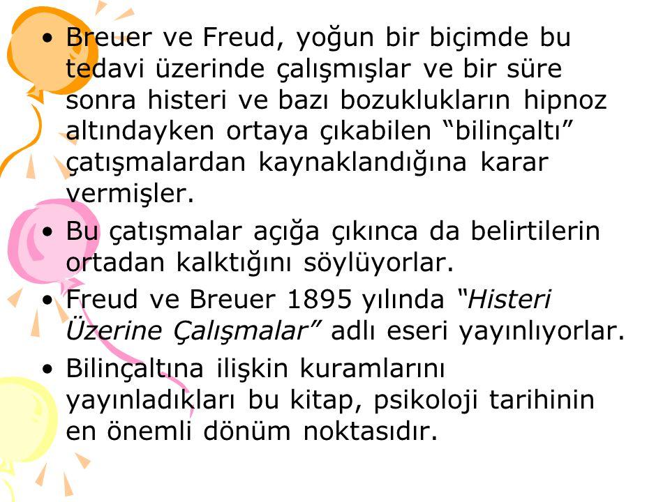 Breuer ve Freud, yoğun bir biçimde bu tedavi üzerinde çalışmışlar ve bir süre sonra histeri ve bazı bozuklukların hipnoz altındayken ortaya çıkabilen bilinçaltı çatışmalardan kaynaklandığına karar vermişler.