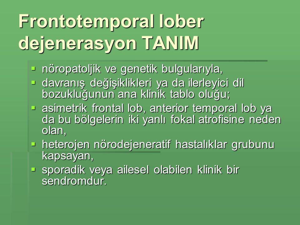 Frontotemporal lober dejenerasyon TANIM