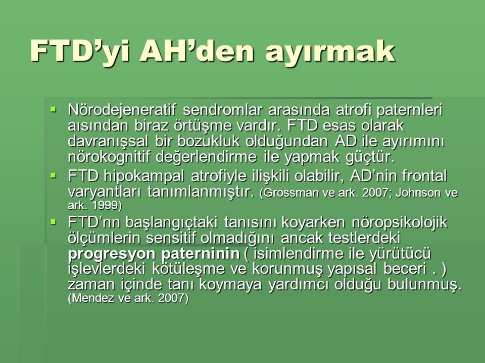 FTD'yi AH'den ayırmak