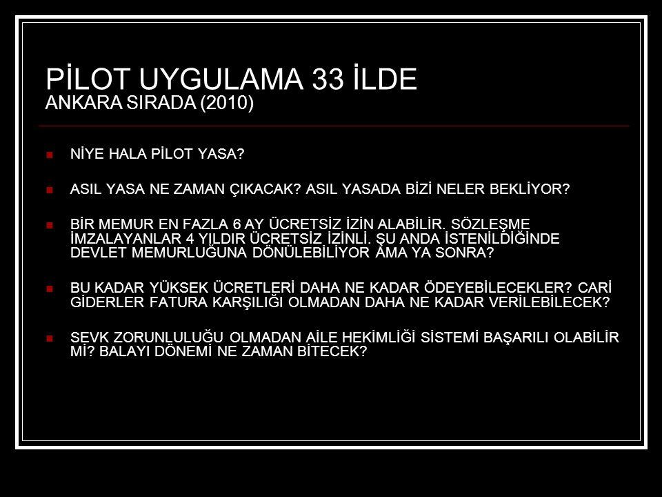 PİLOT UYGULAMA 33 İLDE ANKARA SIRADA (2010)