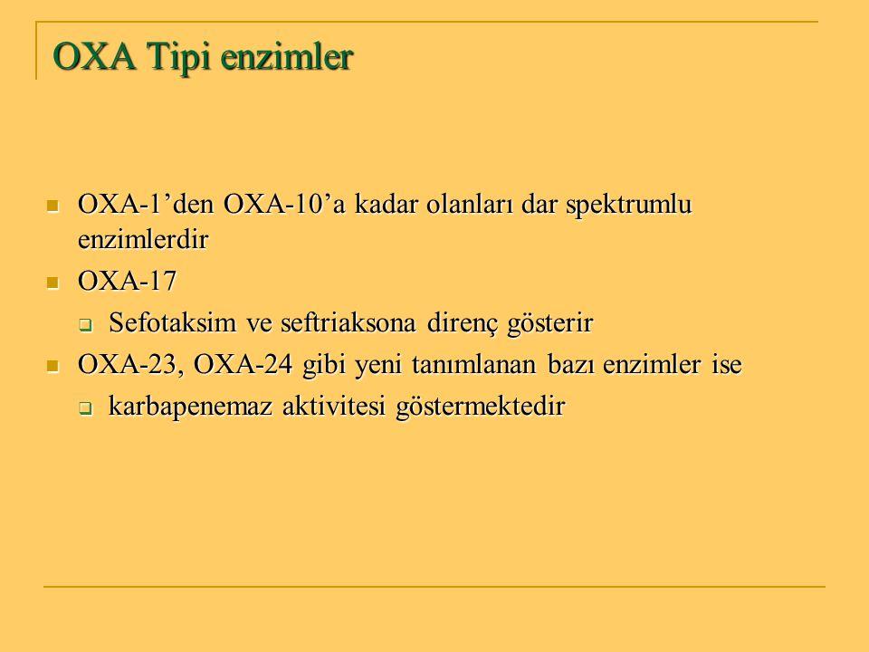 OXA Tipi enzimler OXA-1'den OXA-10'a kadar olanları dar spektrumlu enzimlerdir. OXA-17. Sefotaksim ve seftriaksona direnç gösterir.