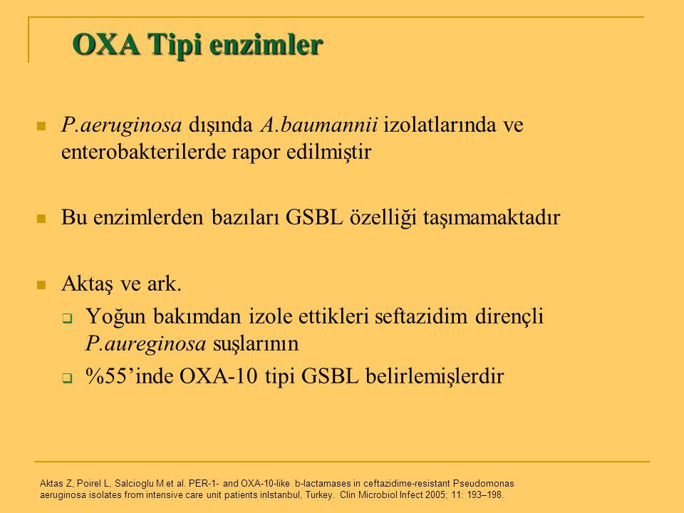 OXA Tipi enzimler P.aeruginosa dışında A.baumannii izolatlarında ve enterobakterilerde rapor edilmiştir.