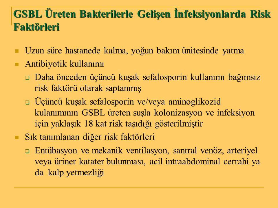 GSBL Üreten Bakterilerle Gelişen İnfeksiyonlarda Risk Faktörleri