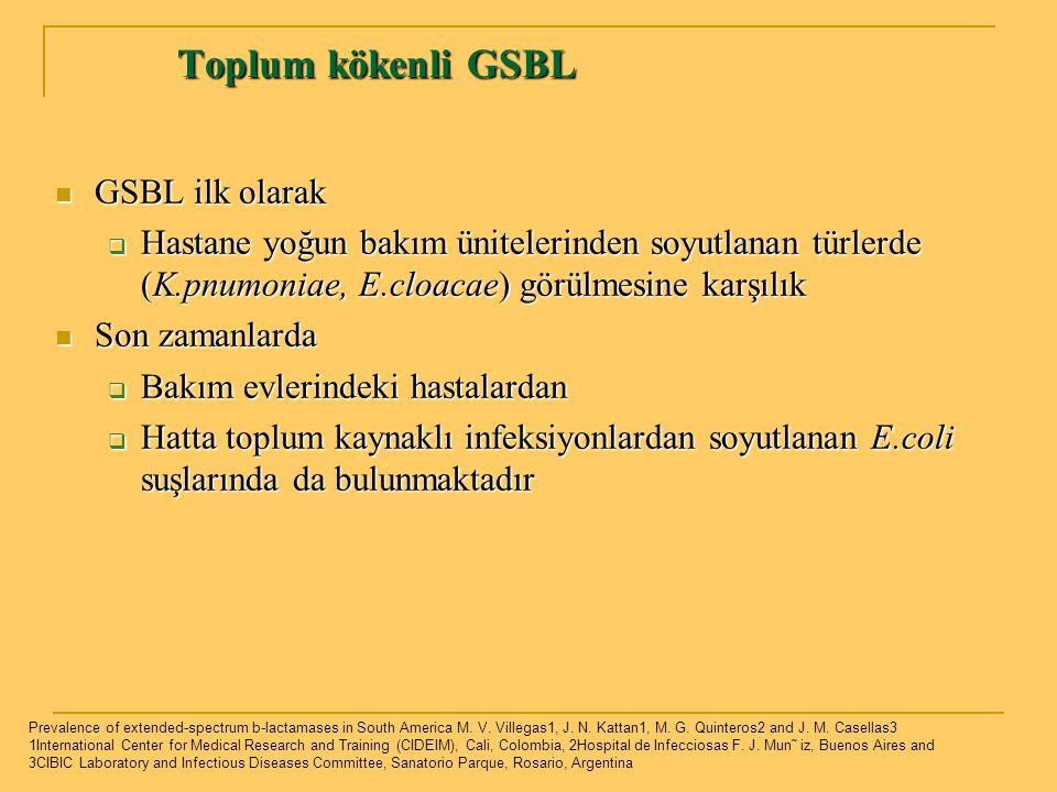 Toplum kökenli GSBL GSBL ilk olarak