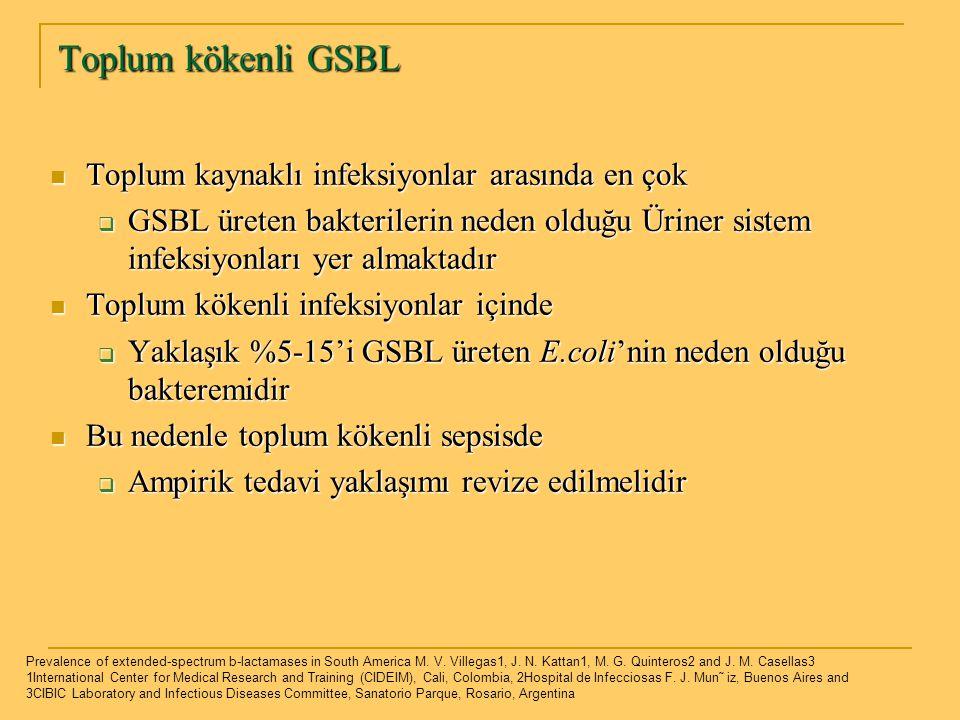 Toplum kökenli GSBL Toplum kaynaklı infeksiyonlar arasında en çok