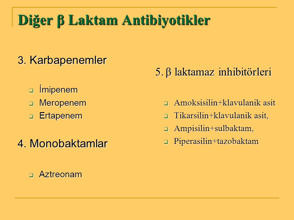 Diğer β Laktam Antibiyotikler