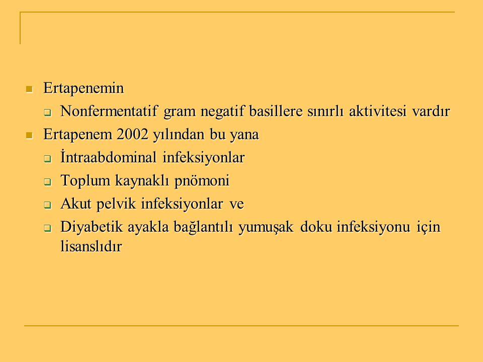 Ertapenemin Nonfermentatif gram negatif basillere sınırlı aktivitesi vardır. Ertapenem 2002 yılından bu yana.