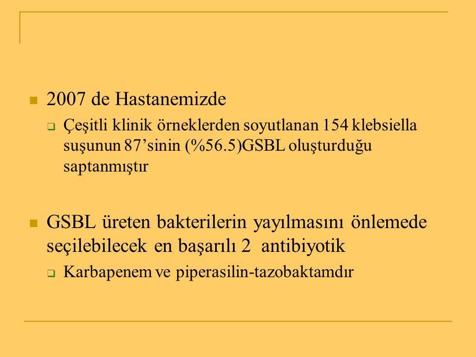 2007 de Hastanemizde Çeşitli klinik örneklerden soyutlanan 154 klebsiella suşunun 87'sinin (%56.5)GSBL oluşturduğu saptanmıştır.