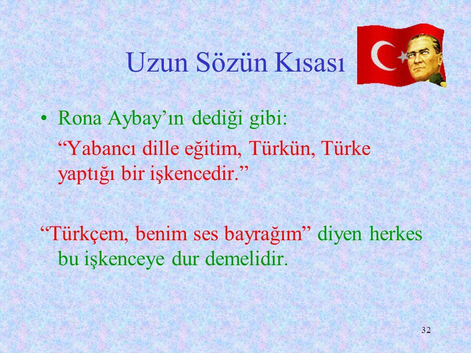 Uzun Sözün Kısası Rona Aybay'ın dediği gibi: