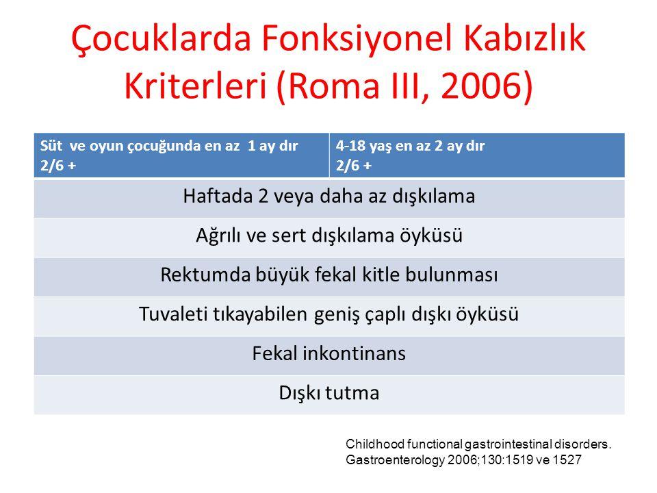 Çocuklarda Fonksiyonel Kabızlık Kriterleri (Roma III, 2006)