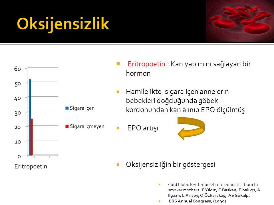 Oksijensizlik Eritropoetin : Kan yapımını sağlayan bir hormon