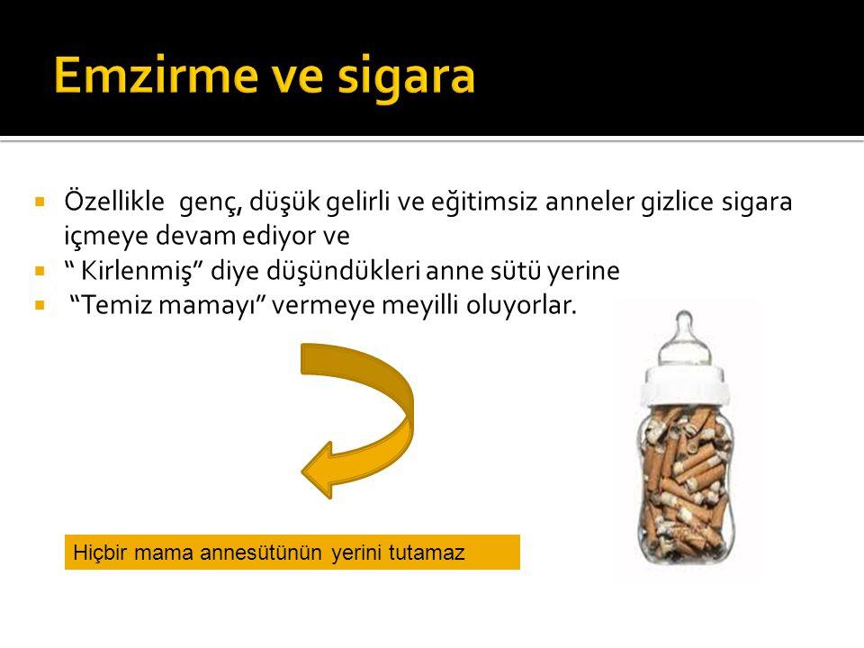 Emzirme ve sigara Özellikle genç, düşük gelirli ve eğitimsiz anneler gizlice sigara içmeye devam ediyor ve.
