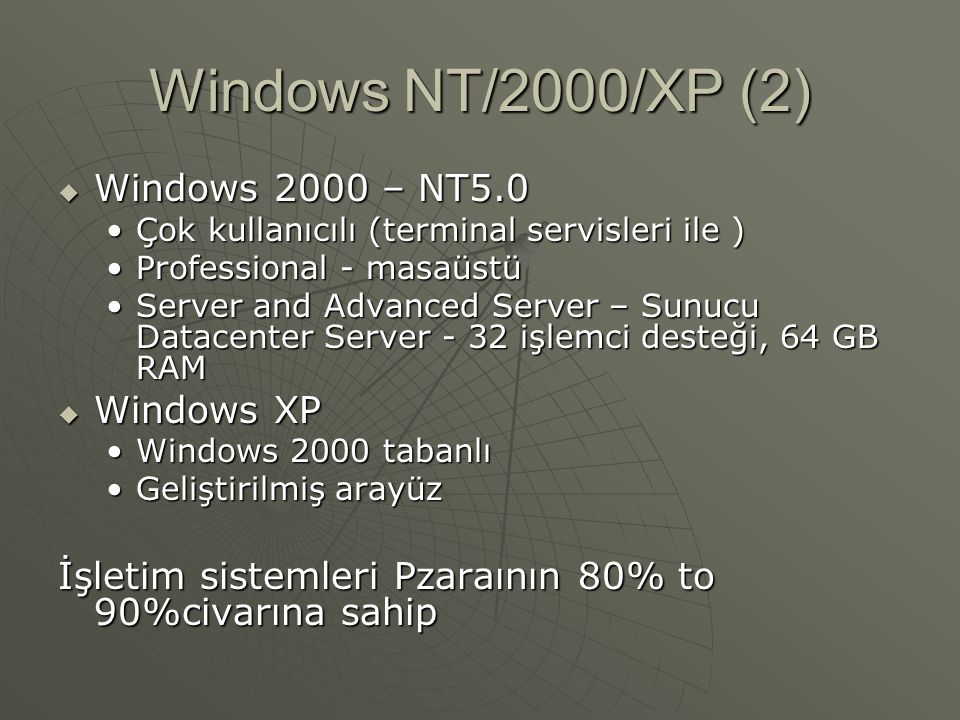 Windows NT/2000/XP (2) Windows 2000 – NT5.0 Windows XP