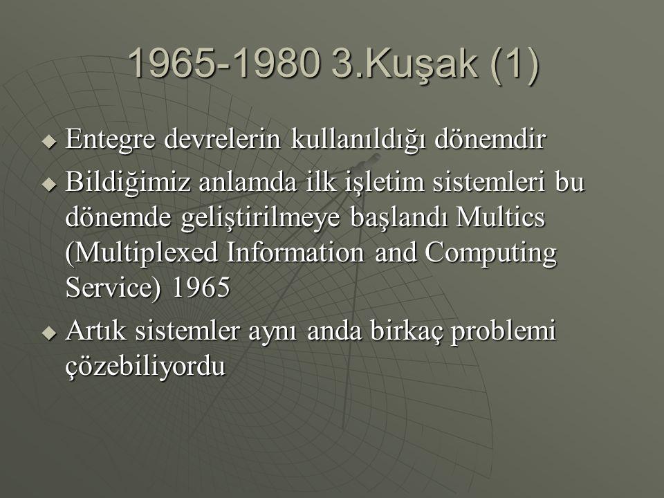1965-1980 3.Kuşak (1) Entegre devrelerin kullanıldığı dönemdir