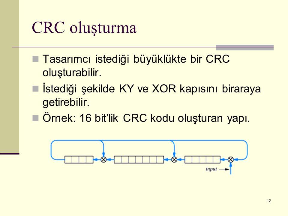 CRC oluşturma Tasarımcı istediği büyüklükte bir CRC oluşturabilir.