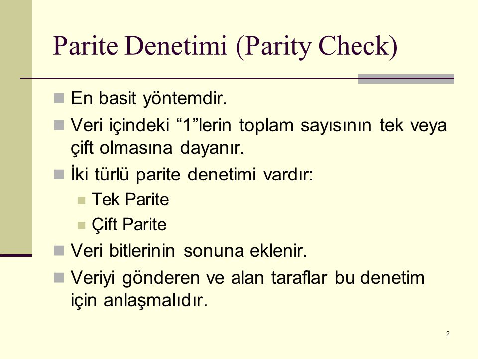 Parite Denetimi (Parity Check)