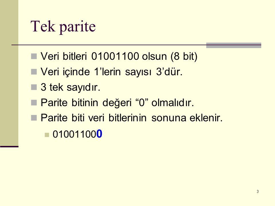Tek parite Veri bitleri 01001100 olsun (8 bit)
