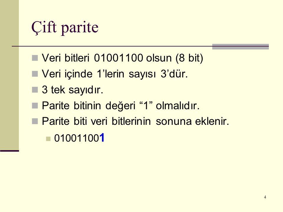 Çift parite Veri bitleri 01001100 olsun (8 bit)