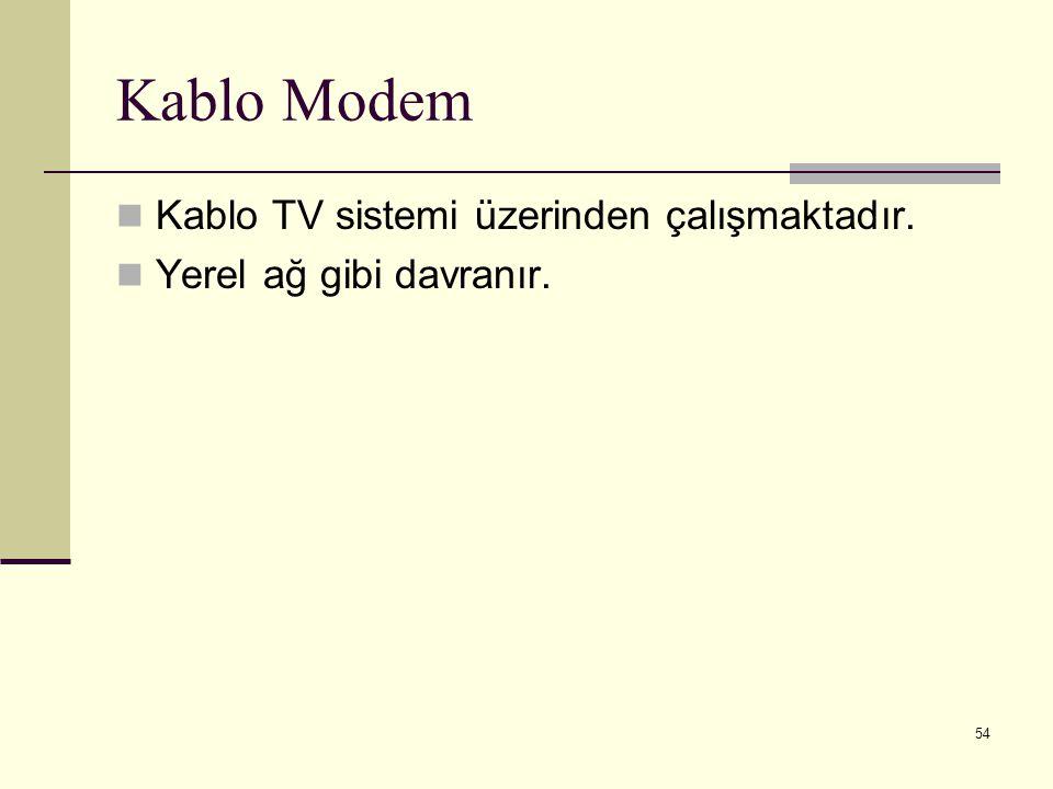 Kablo Modem Kablo TV sistemi üzerinden çalışmaktadır.