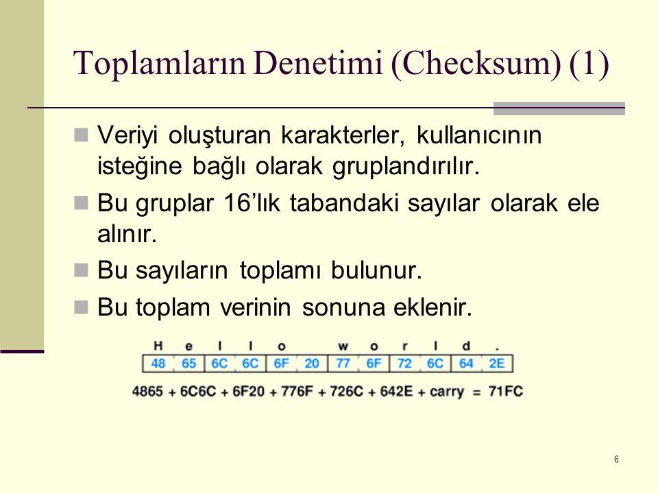 Toplamların Denetimi (Checksum) (1)