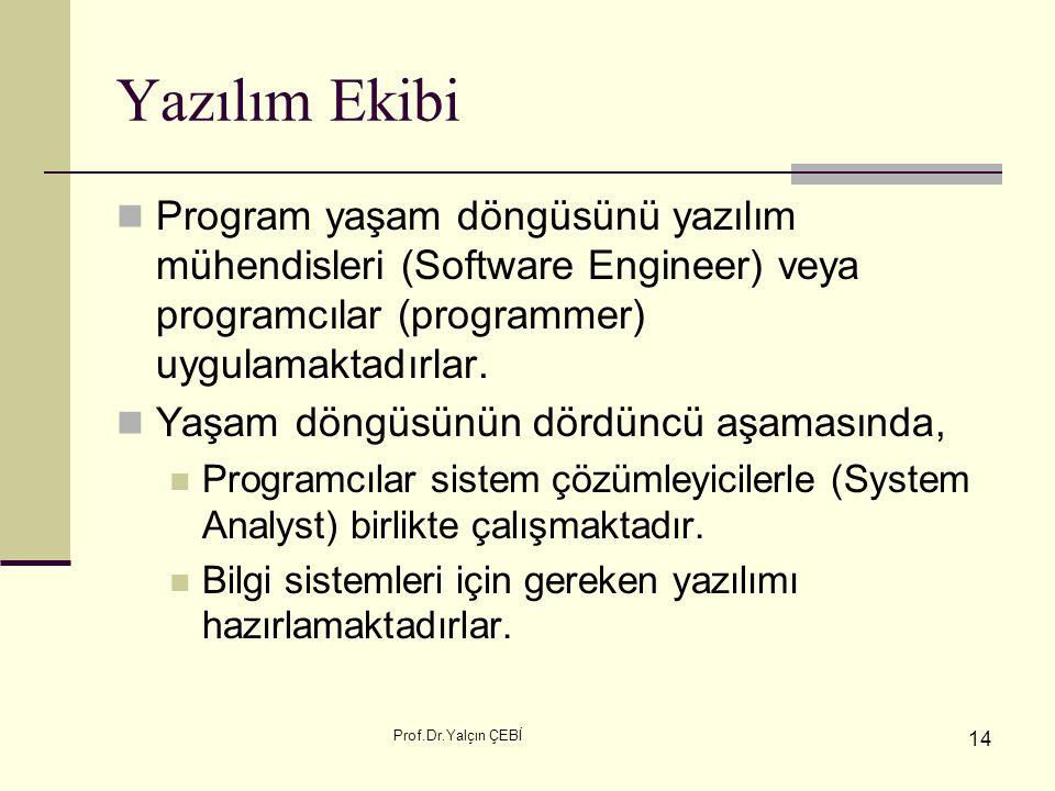 Yazılım Ekibi Program yaşam döngüsünü yazılım mühendisleri (Software Engineer) veya programcılar (programmer) uygulamaktadırlar.