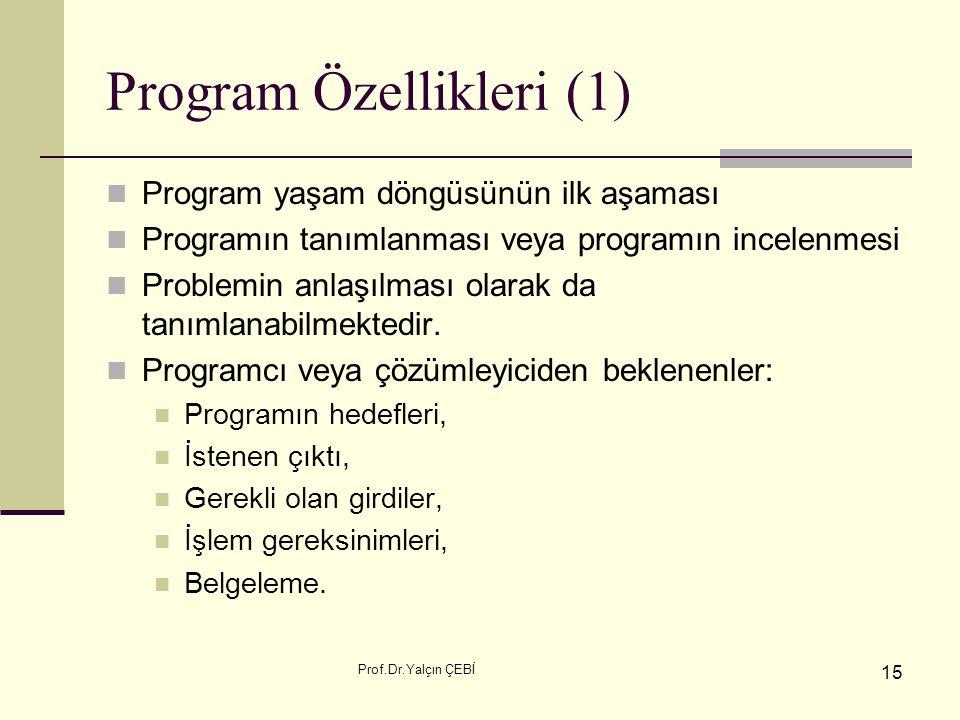 Program Özellikleri (1)
