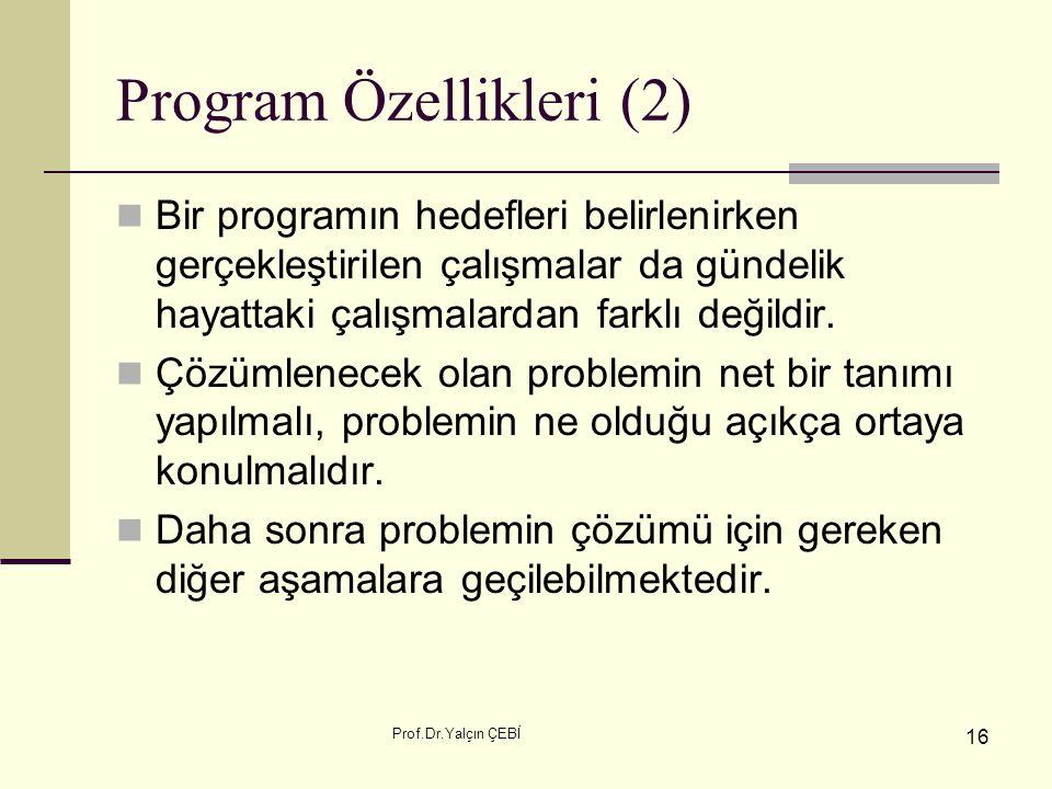 Program Özellikleri (2)