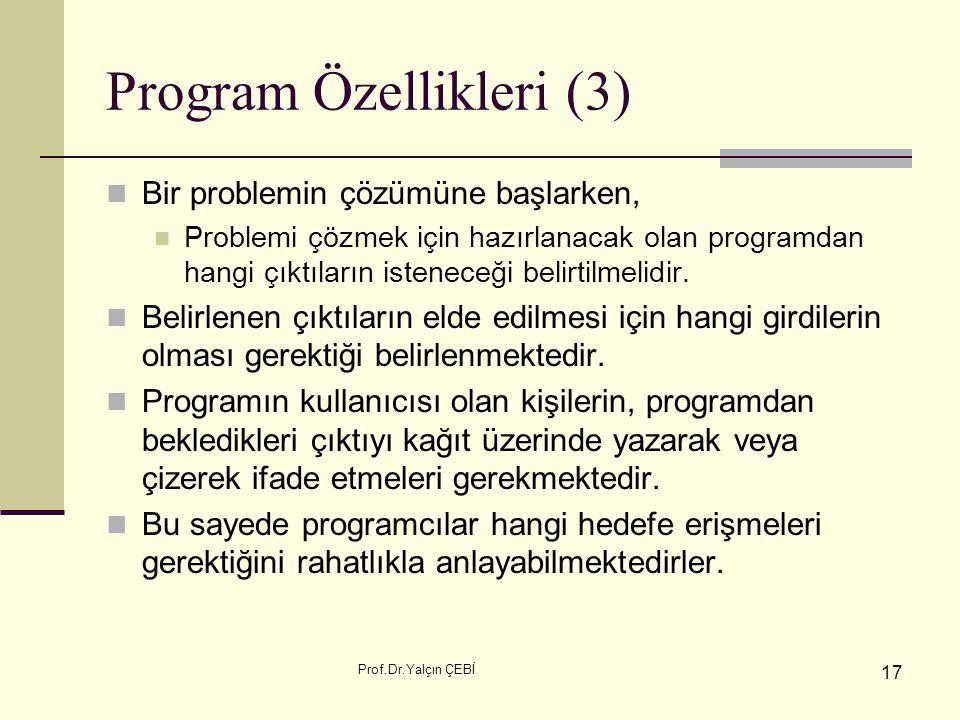 Program Özellikleri (3)