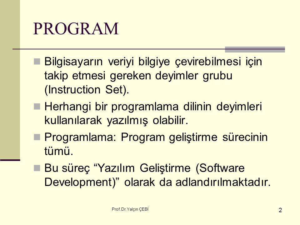 PROGRAM Bilgisayarın veriyi bilgiye çevirebilmesi için takip etmesi gereken deyimler grubu (Instruction Set).