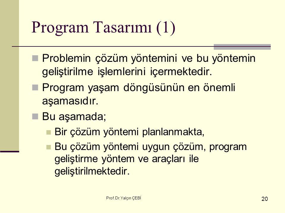 Program Tasarımı (1) Problemin çözüm yöntemini ve bu yöntemin geliştirilme işlemlerini içermektedir.