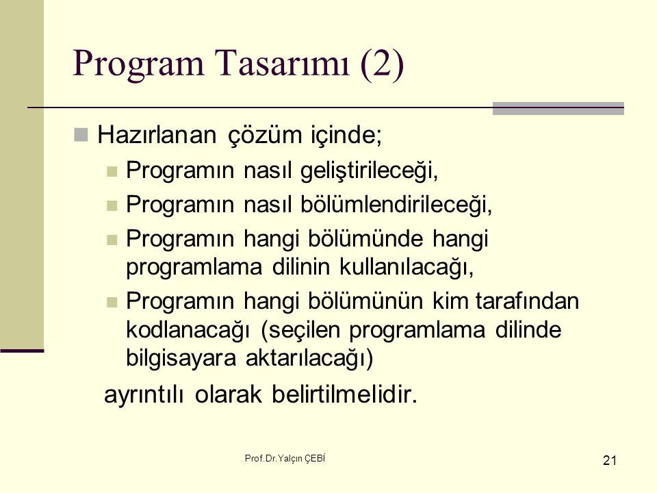 Program Tasarımı (2) Hazırlanan çözüm içinde;