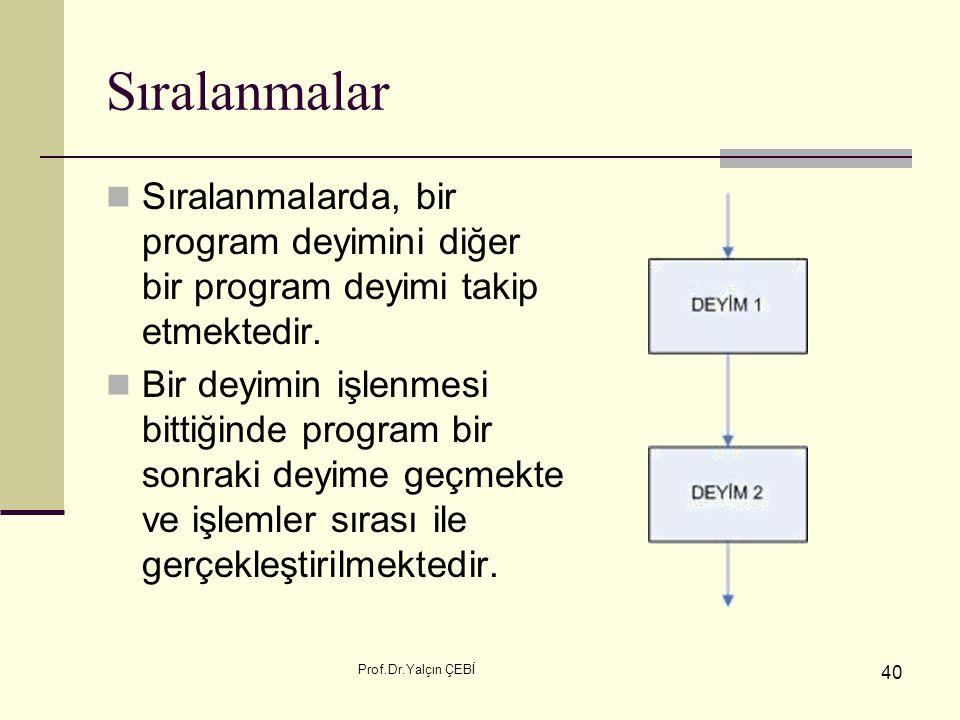 Sıralanmalar Sıralanmalarda, bir program deyimini diğer bir program deyimi takip etmektedir.