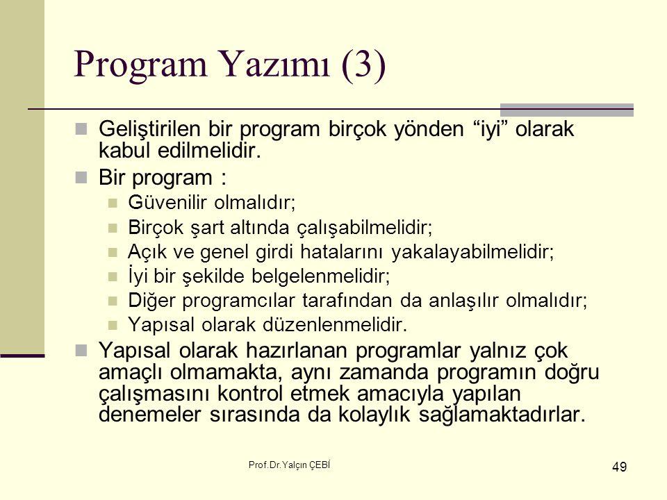 Program Yazımı (3) Geliştirilen bir program birçok yönden iyi olarak kabul edilmelidir. Bir program :