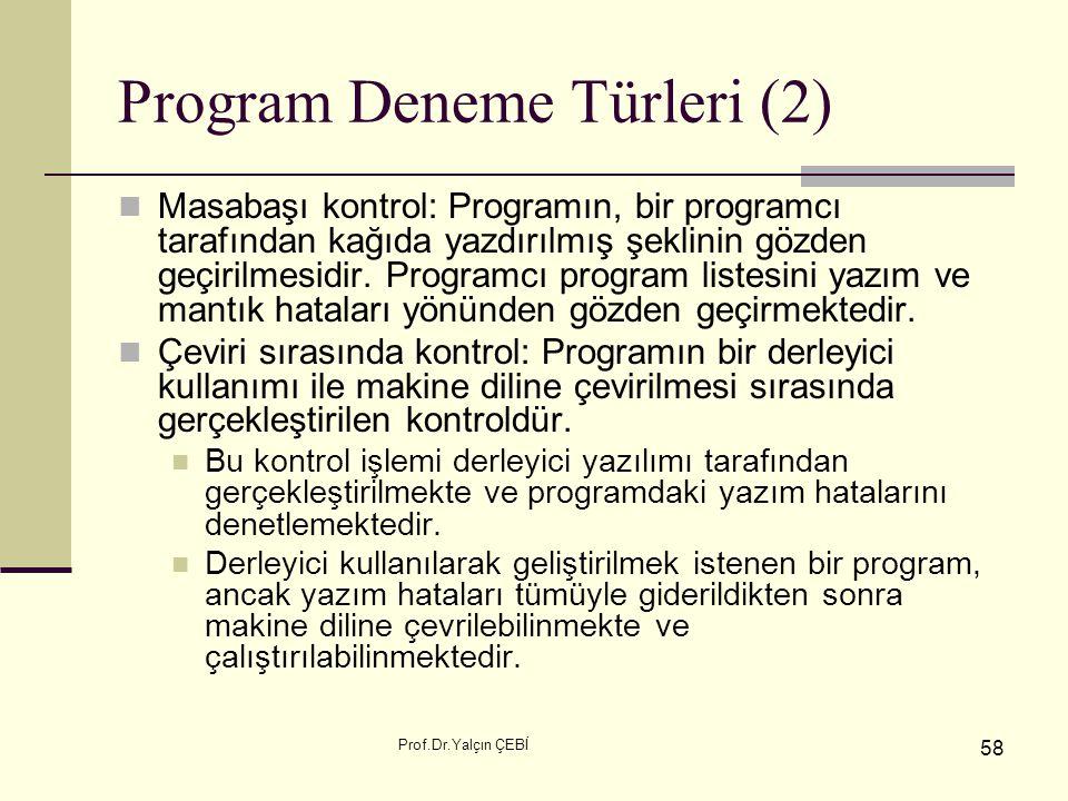 Program Deneme Türleri (2)